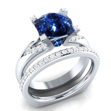 Huitan 2PC Wedding Ring With Round Cubic Zircon Stone Couple Wholesale Halo Set For Women Jewelry Dropshipping