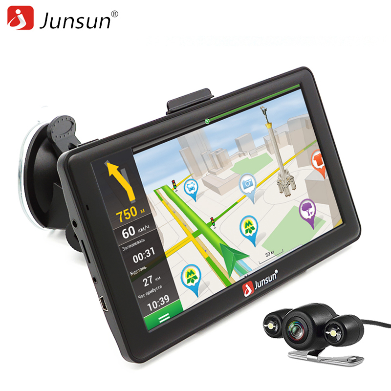 Junsun 7 inch Android 4.4.2 Car GPS Navigation 800*480 Car Navigator WiFi Bluetooth Russia Europe map Vehicle gps navigator 5 resistive screen wince 6 0 gps navigator w fm transmitter tf 4gb brazil map black red