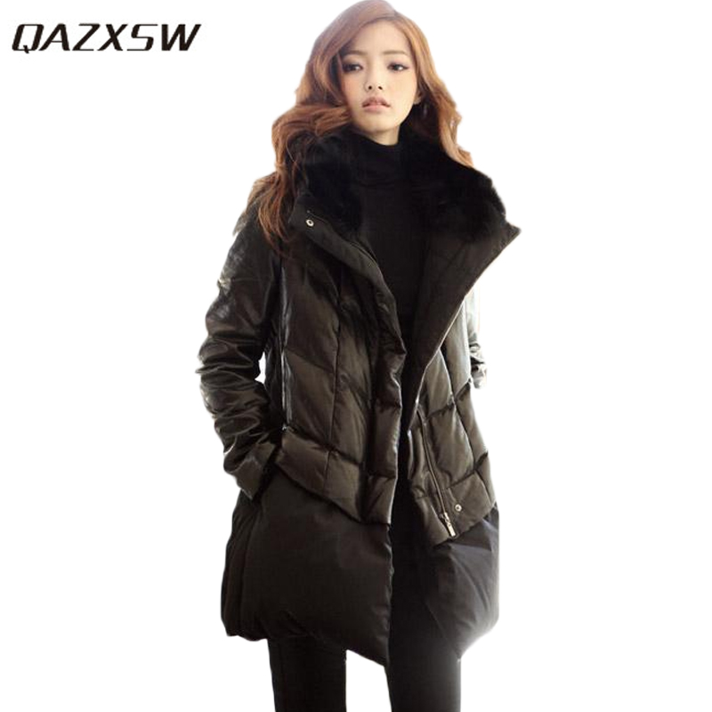QAZXSW 2017 New Korean Cotton Coat Women Winter Padded Jacket Loose Parkas Plus Size Pregnant Casual PU Winter Coat L-6XL HB306 qazxsw woman basic coat woman winter jacket for women woolen poncho jacket single button loose cotton padded abrigos mujer hb118