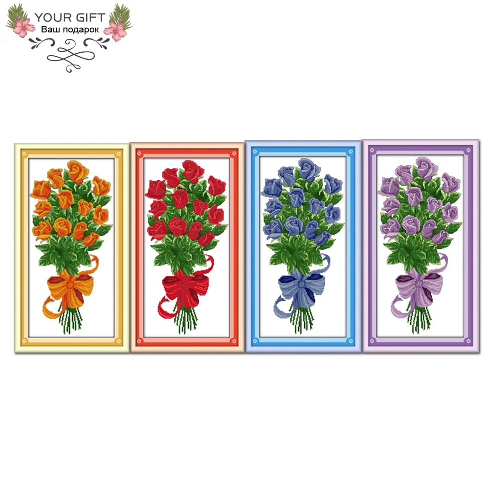Joie Dimanche H018 (1) (2) (3) (4) 14CT 11CT Compté et Estampillé Home Decor Présente Orange Rouge Bleu Violet Fleurs Point De Croix kits