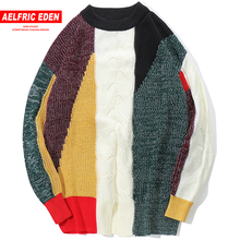 Aelfric Eden Vintage Color Block Pullover Sweaters Mens Hip Hop Casual Knitted Sweater Fashion Male Streetwear Sweatercoats KJ95