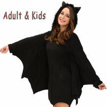 Women Girls Halloween Bat Costume Fluffy Animal Cosplay Anime Hoodie With Ears Wings Mother Daughter Vampire Costume Fancy Dress durarara orihara izaya berber fleece black hoodie with cat ears cosplay costume
