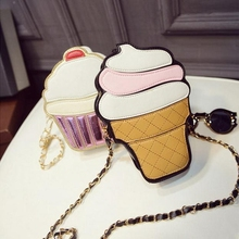 Ladies Ice Cream Bags 2016 PU Leather Messenger Bags Small Size Chain Handbags Cake Coin Purse Ice Cream Clutch With New Chain