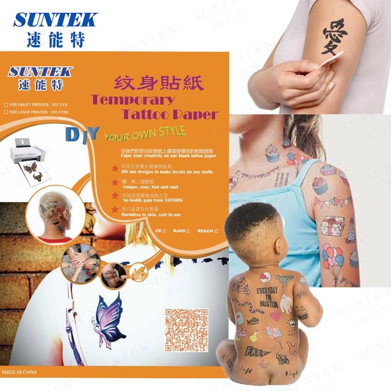 Us 2699 Laser Inkjet Temporary Tattoo Paper Blank Sheets Diy Waterproof Harmless To Body Skin Sticker Tattoo Transfer Paper Film X10sets In