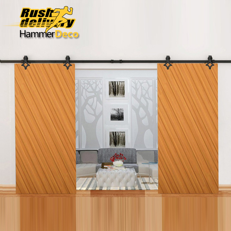 Country Farm Sliding Door Hardware Antique Modern Barn Wood Interior Double Rollers Closet Track Set Kit