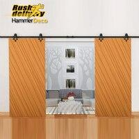 10/12/13/15/16FT Granja País Puerta Corredera de Hardware Antiguo Granero Modern Interior De Madera Doble rodillos Armario Pista Set Kit