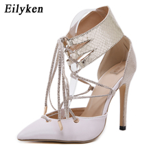 Eilyken Fashion Lace Up Sexy Ladies Pumps Pointed Toe Party Dress Shoes