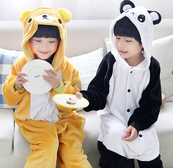 High Quality Wholesale Panda Bear Flannel Hoodie Pajamas Costume Cosplay Winter Animal Onesies Sleepwear For Boys Girls Kids