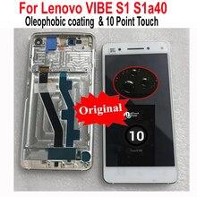 Ban đầu Mới Thử Nghiệm Cũng Kính Bảng Điều Khiển Màn Hình LCD Hiển Thị 10 Bộ Số Hóa Cảm Ứng Cảm Biến + Khung Cho Lenovo VIBE S1 s1a40 S1c50