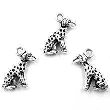 20Pcs Antique Silver Tone Dog Animal Chat Charms Pendants Breloque Jewelry Making 16x9mm