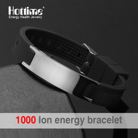 Free Shipping Black Colour Silicone Wristband 4 In 1 Bio Elements Energy Stainless Steel Magnetic Bracelet