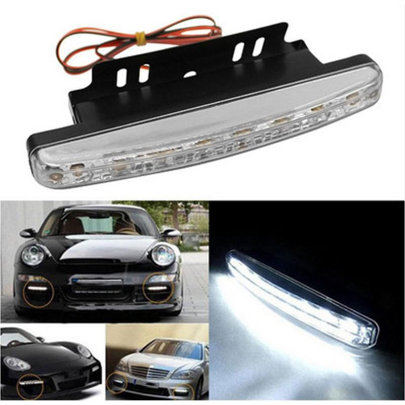 1Pair Car Headlight High Power High/Low Beam Warning Driving Fog Lamp Auto Head 8 LED Daytime Light Car Accessories