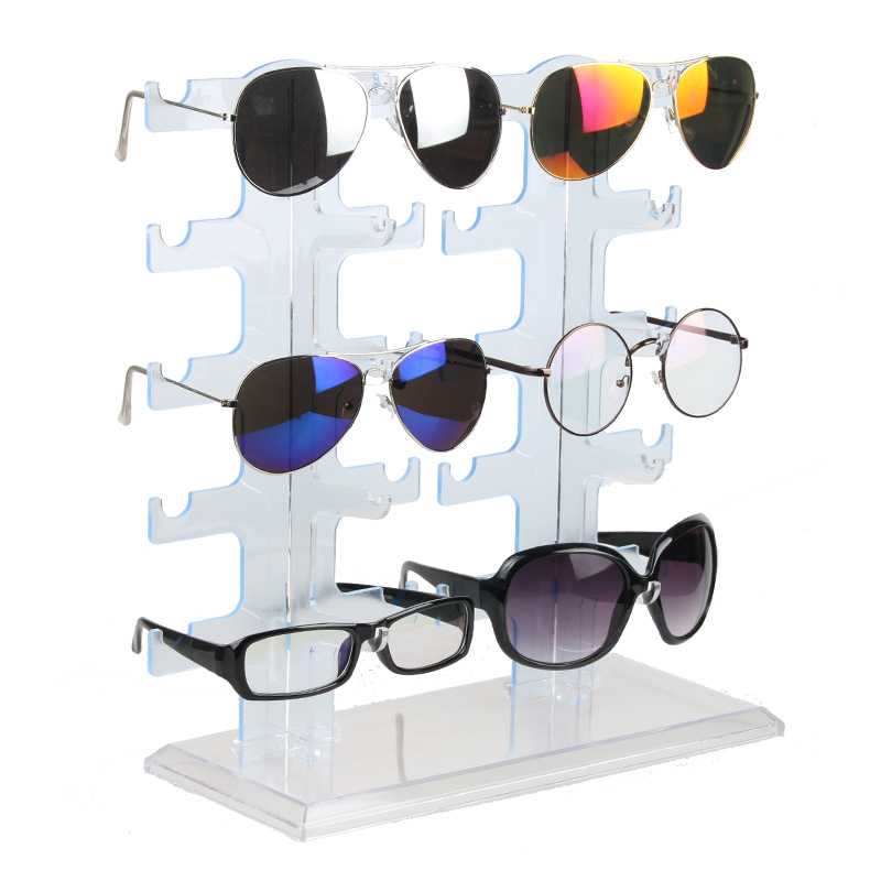 Jewelry Organizer Stand 10Pair Plastic Sunglasses Eyeglass Glasses Frame Rack Display Organizer Show Holder Rack Blue 30*13*32cm acrylic sunglass glass rack optical display frame glasses stand holder organizer clear