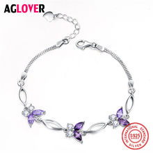 AGLOVER Real 925 Sterling Silver Bracelet 2018 Elegant CZ Butterfly Charms Fashion Box Chain Bracelets for Women Jewelry Gift