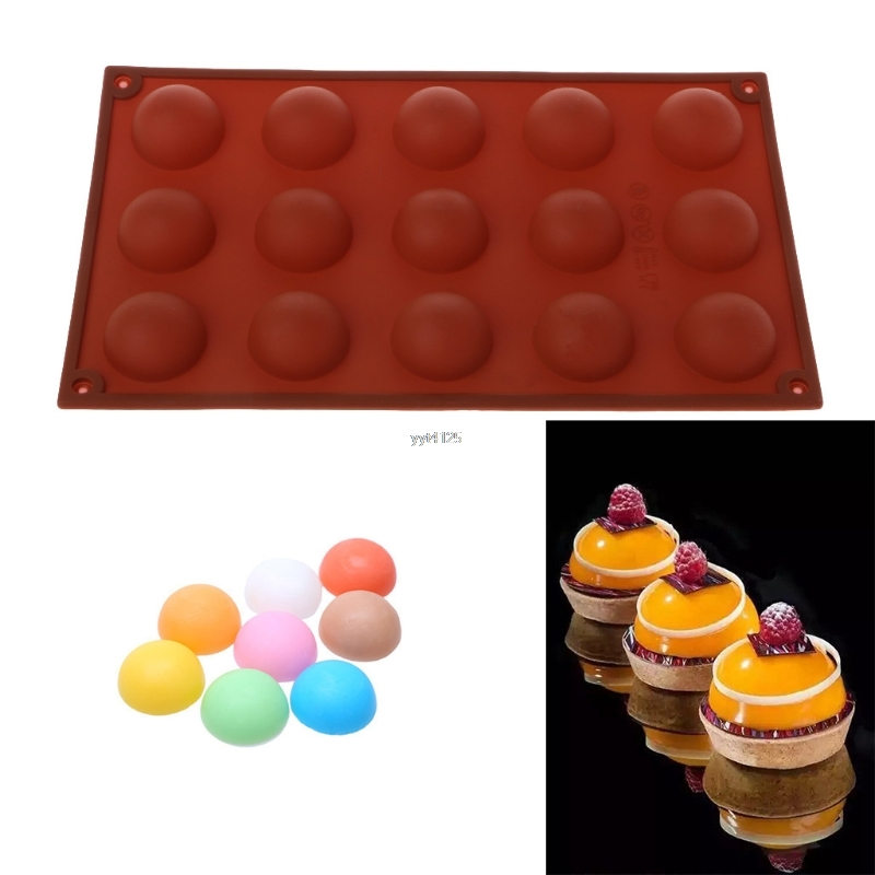 15 Cavities Large Hemisphere DIY Chocolate Silicone Baking Mold Cake Dome Mould Mat Kitchen Cupcake Cases Cake Mold Mar