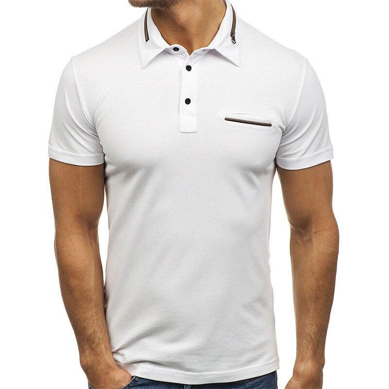 LEQEMAO Men Summer Polo Shirts Collar Short Sleeve Pure Color font b Slim b font Fit