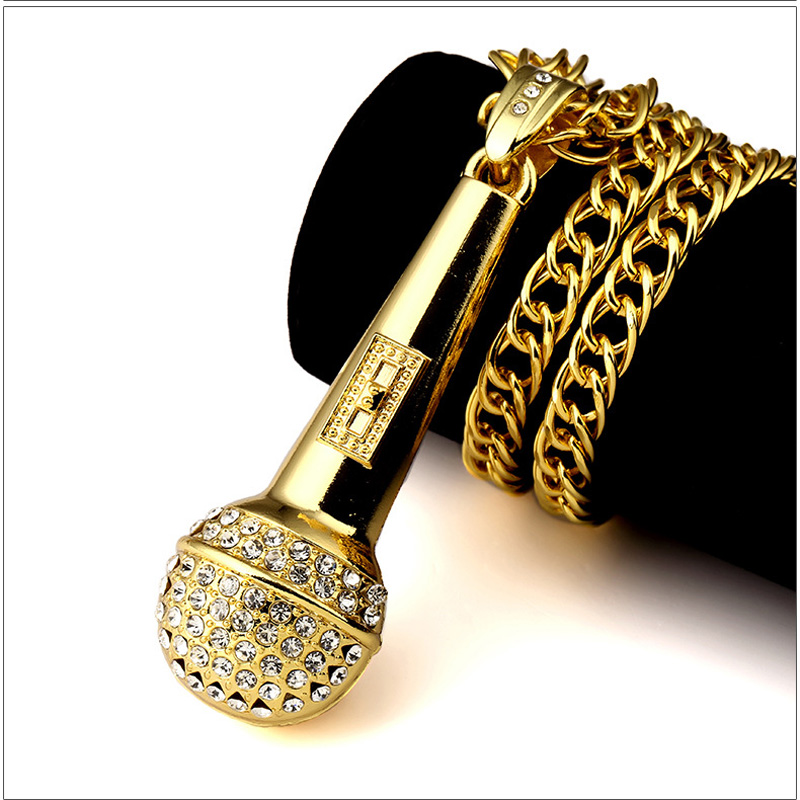 2017 Gold Color Microphone Necklace Hiphop Rock Long Necklaces For Men Stainless Steel Crystal Pandents Charm Chain Necklaces