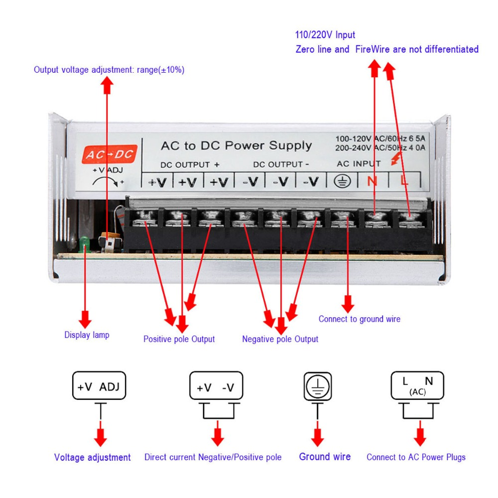 DC 48V 400W Switch Mode Power Supply Constant Voltage Led Driver Transformer AC 110V / 220V