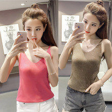 2017 Women Summer Fashion Slim Sleeveless V-Neck Sexy Solid T-Shirt Tank Top Ladies Anillos Ring Cerveja Aneis Tiger Paris Tees
