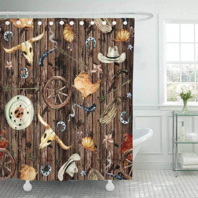 Shower Curtain With Hooks USA Wild West Watercolor Western American Arizona Armadillo Arrow Boots Buffalo Decorative