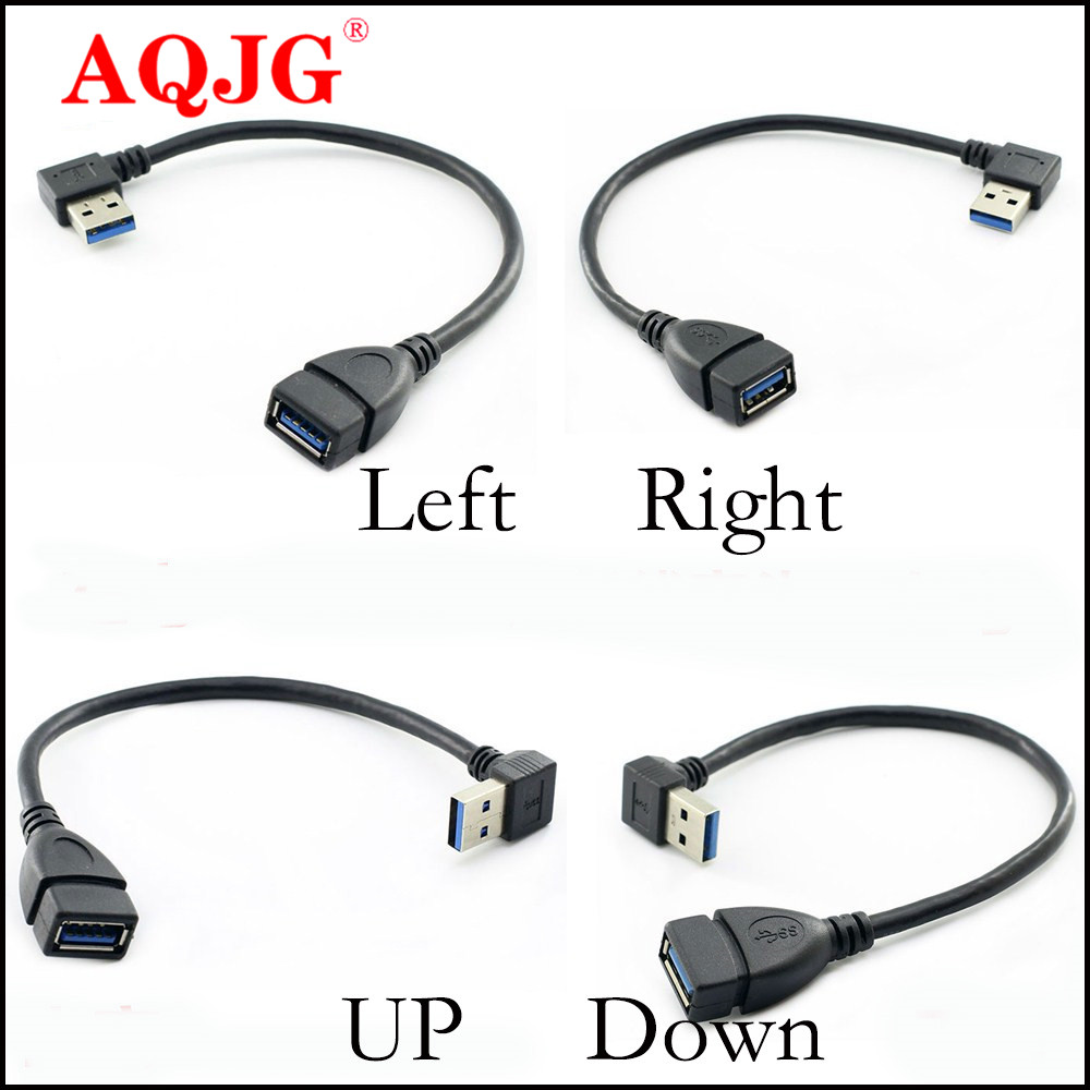 USB 3.0 Angle 90 Degree Extension Cable Male to Female Adapter Cord Data Sync