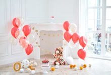 Laeacco Baby 1st Birthday Colorful Balloons Flowers Cake Fireplace Background Customized Photographic Backdrop For Photo Studio