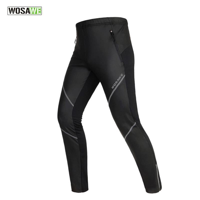 WOSAWE Pu Leather Men Warm Winter Thermal Fleece Running Pants Outdoor Fitness Sports Windproof Waterproof Trousers