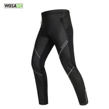 WOSAWE Pu Leather Men Warm Winter Thermal Fleece Running Pants Outdoor Fitness Sports Windproof Waterproof Trousers Black