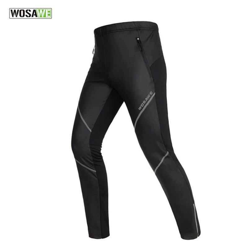 WOSAWE Pu cuir hommes chaud hiver thermique polaire pantalons de course en plein air Fitness Sports coupe-vent imperméable pantalon pantalon noir