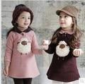 2015 новая зимняя детская одежда Корейский плюшевые ягненка флис футболка новорожденных девочек топы мультфильм толстый свитер с капюшоном дети толстовки