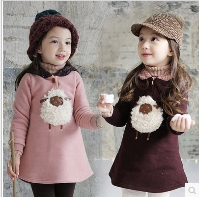 2015 novas roupas de inverno crianças Coreanas cordeiro de pelúcia velo camisola do bebê partes superiores das meninas dos desenhos animados com capuz grosso camisola hoodies crianças