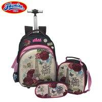 JASMINESTAR 3PCS Trolley School Bags Girl Laptop Backpacks Kids Satchel Luggage Large Capacity Wheeled School Bags