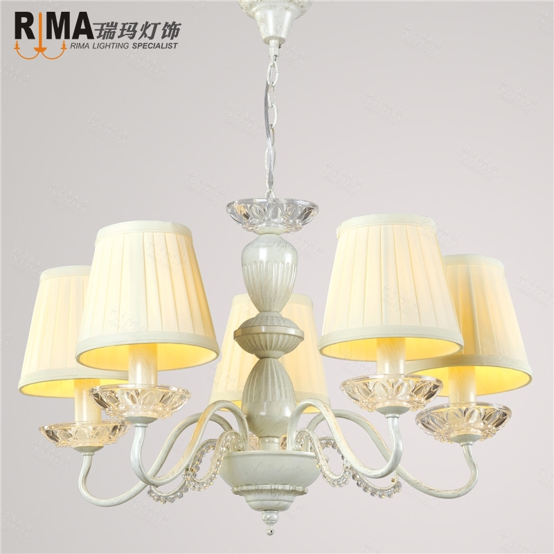 Cream Fabric Shade Pendant Lamp Chandelier Fancy Light Fixtures Luminaria Hanging For Living Room