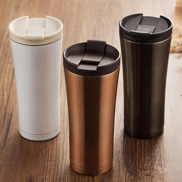 ขายร้อนคู่ผนังสแตนเลสเครื่องชงกาแฟร้อนถ้วยแก้วความร้อนขวด500มิลลิลิตรThermocupแฟชั่นแก้วกระติก