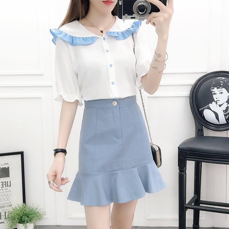 chiffon shirt blouse top & fishtail slim skirts two-piece outfit women vestido student girl cute new 2018 design clothing set