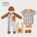 Guarantee Mother's Choice  Cartoon print Baby 5pcs set rompers long and short sleeve rampers Bib, Beanie, and Booties