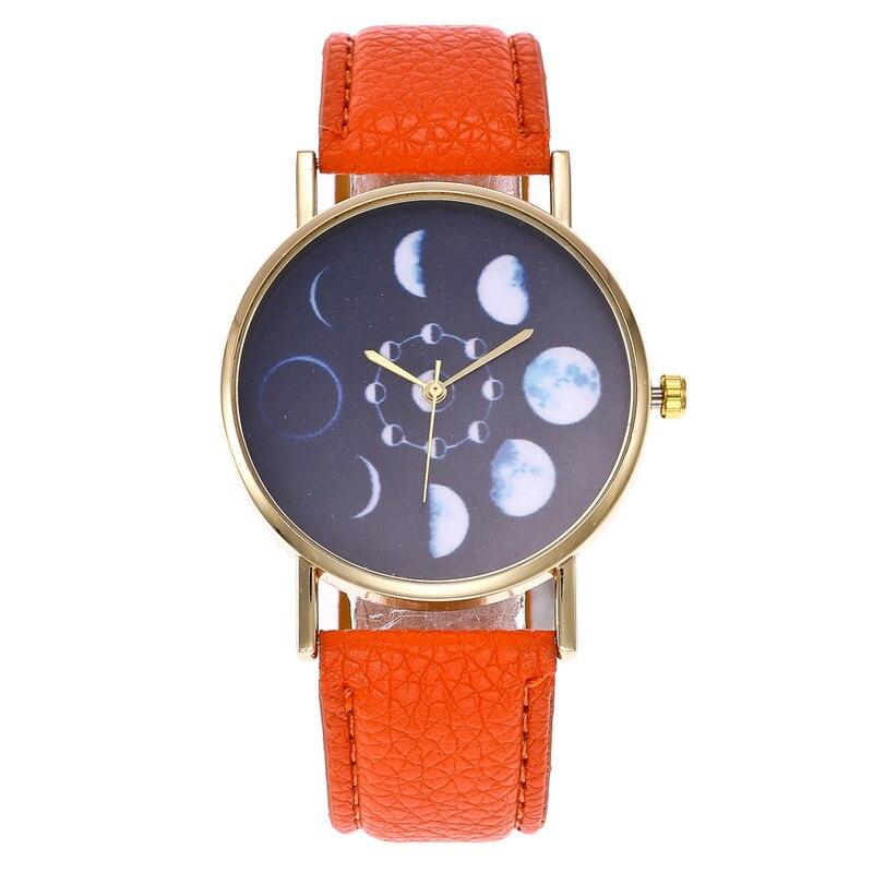 Unisex Simple Lunar Eclipse Dial Quartz Watch PU Leather Strap Wristwatch Gifts LL@17