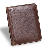 Men Short Wallet Genuine Leather Vintage Purses High Quality Money Bag Credit Card Holders New Bill