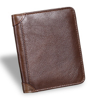 Men Short Wallet Genuine Leather Vintage Purses High Quality Money Bag Credit Card Holders New Bill