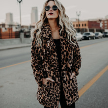 Leopard Turn-Down Collar Thickened Women's Coats Long Sleeves Warm Lady Jackets 2018 New Fashion Autumn Winter Female Clothing