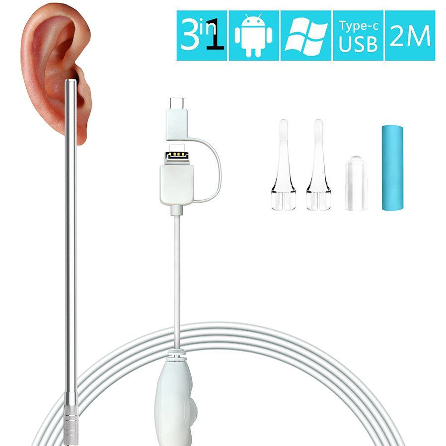 1.3MP 720P HD Ear Scope Inspection Camera, Ear Digital Endoscope Otoscope, Earwax Cleansing Tool With 6 LEDs