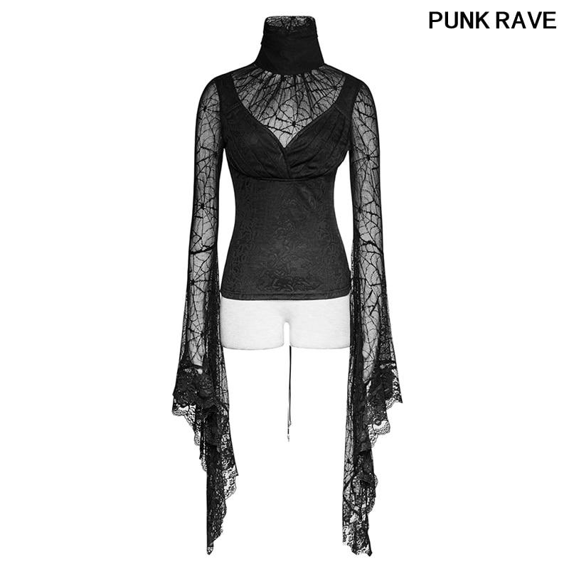 Gothic Schwarz Damen Sexy Spitze Verstellbare Bandage T shirt Halloween Spider Web Lang Flare Sleeve Shirts Tops Tees PUNK RAVE T 449