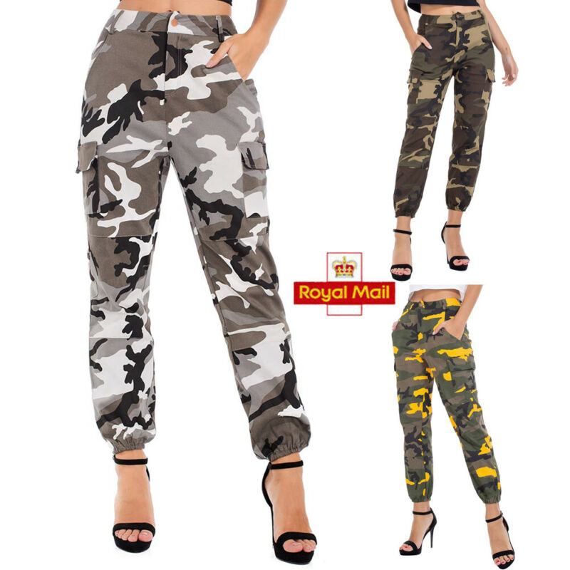 UK Womens Camouflage Military Outdoor Joggers Lady High Waist Casual Army Pants