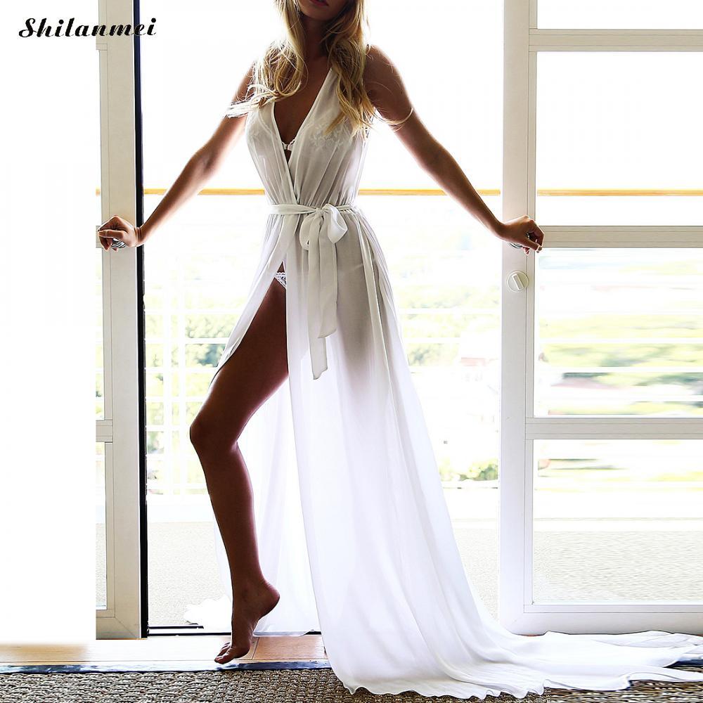 Bohemia Hasta Red Baño Túnica Robe Sexy Blanco Femme La Playa De Maxi Mujeres Vestido Cubrir Traje Rojo Verano Gasa white Vestidos Hvw5txq