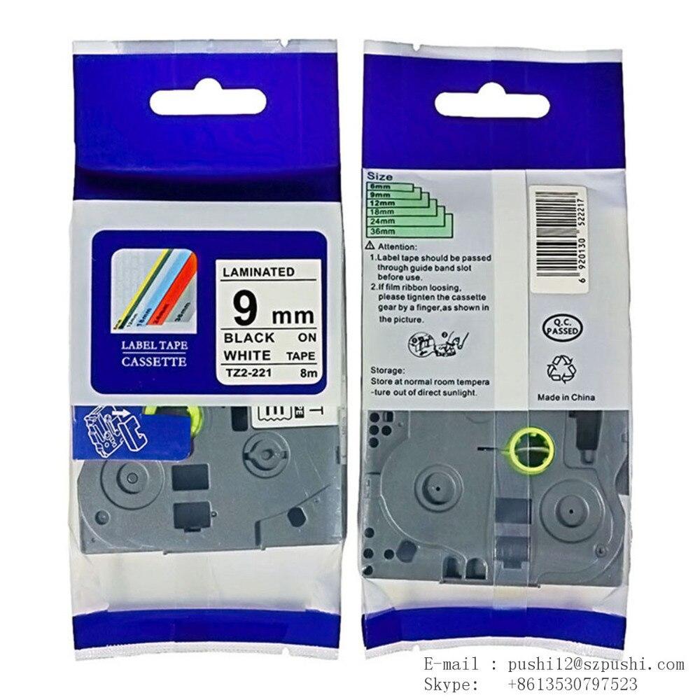 20pcs/lot TZ221 9 mm x 8 m Label Tape Cartridge for P Touch Serial Label Printing Machines - Black/WhiteTZE221