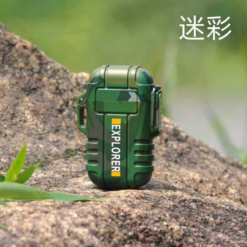 Наружная портативная Водонепроницаемая двойная зажигалка электрическая зажигалка кнопка безопасности ветронепроницаемая Бесшумная зажигалка