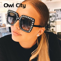 2018 New Luxury Sunglasses Women Brand Designer Ladies Oversized Square Sunglass Diamond Frame Mirror Sun Glasses