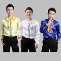 Ultra Low-cost Sales!studio 2015 New Men Fashion Lace Dress Shirt Big Yards Shirt Men Show Stage Men Sequined Shirts M-4XL