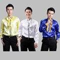 Ventas Ultra bajo costo! estudio 2015 nuevos hombres moda encajes camisa de vestir yardas grandes camisa de hombre muestran etapa hombres camisas de lentejuelas M-4XL