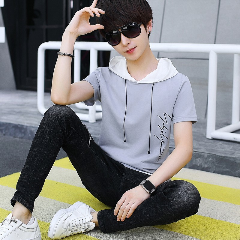 Summer Japanese Student Mens Korean Even Hat Short Sleeve Lovers Half Hoodies T The Tide Favourite Free shipping